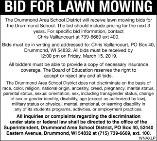 Bid for Lawn Mowing