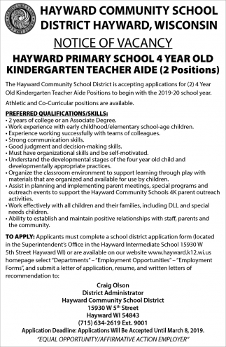 Hayward Primary School 4 Year Old Kindergarten Teacher Aide