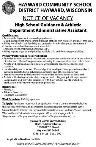 High School Guidance & Athletic Department Administrative Assistant
