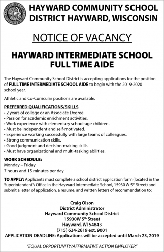 Full Time Intermediate School Aide