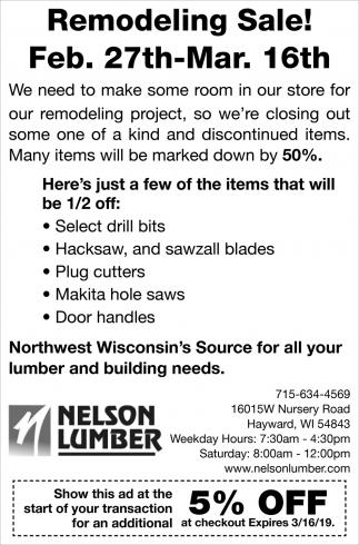 Remodeling Sale!