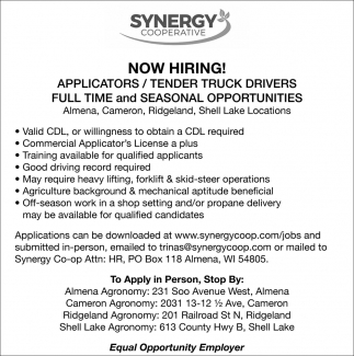 Applicators, Tender Truck Drivers