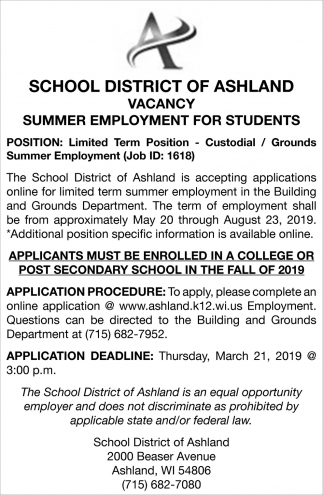 Summer Employment for Students