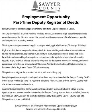 Part-Time Deputy Register of Deeds