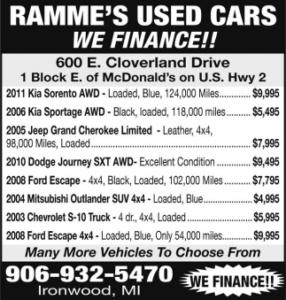 RAMME'S USED CARS WE FINANCE!!