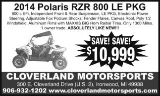 2014 Polaris RZR 800 LE PKG