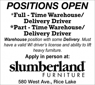 Warehouse, Delivery Driver