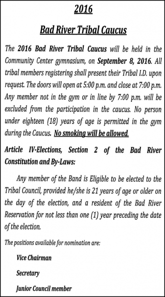 IV Elections Bad River Tribal Caucus