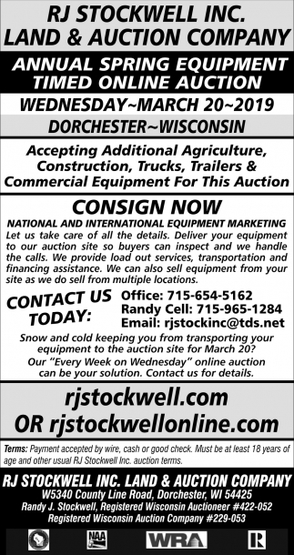 Annual Spring Equipment Timed Online Auction