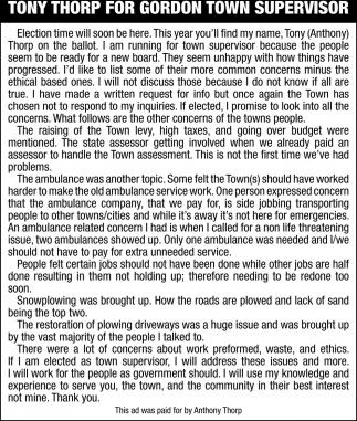 Tony Thorp for Gordon Town Supervisor