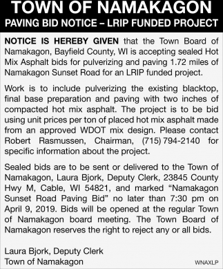 Paving Bid Notice - LRIP Funded Project