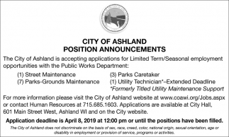 Street Maintenance, Parks Caretaker, Parks Grounds Maintenance, Utility Technician