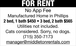 For Rent, No App Fee