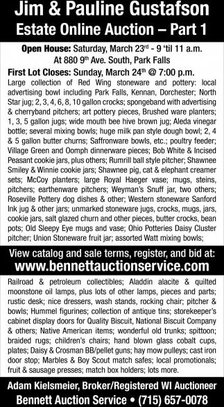Jim & Pauline Gustafson Estate Online Auction