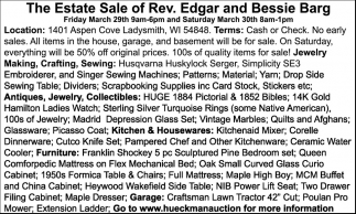 The Estate Sale of Rev. Edgar and Bessie Barg
