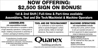 Assemblers, Tool and Die Tech, Machinist, Machine Operators
