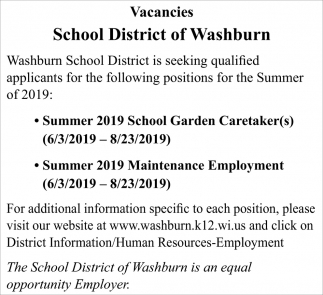 Summer School Garden Caretakes, Summer Maintenance Employment