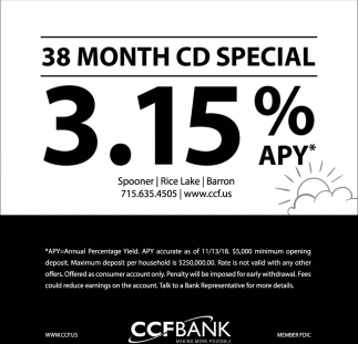 38 Month CD Special 3.15% APY