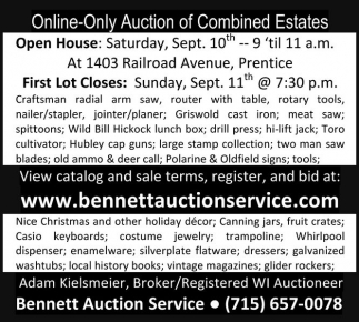 Online-Only Auction of Combined Estates