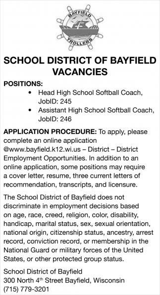 Head High School Softball Coach, Assistant High School Softball Coach