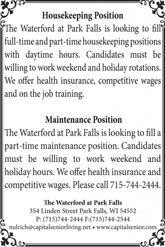 Housekeeping Position - Maintenance Position