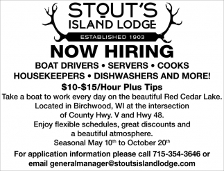 Boat Drivers, Servers, Cook, Housekeepers