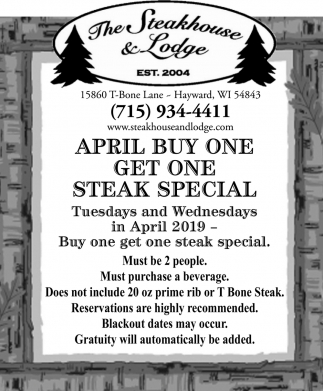 April Buy One Get One Steak Special