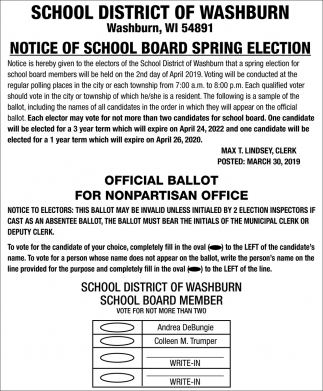 Notice of School Board Spring Election