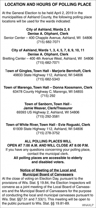 Location and Hours of Polling Place
