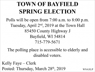 Town of Bayfield Spring Election