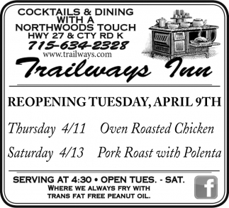 Re-opening Tuesday, April 9th