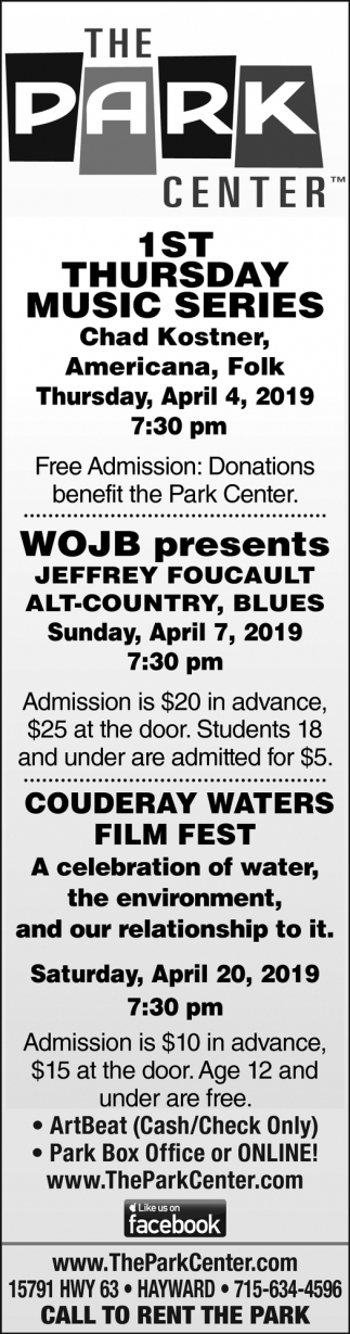 1st Thursday Music Series, WOJB, Couderay Waters Film Fest