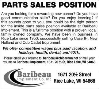 Parts Sales Position