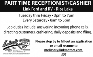 Link Ford Rice Lake >> Part Time Receptionist Cashier Link Ford Rice Lake Wi
