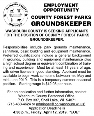 County Forest Parks Groundskeeper