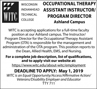 Occupational Therapy / Assistant Instructor / Program Director