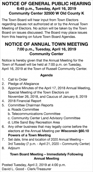 Notice of General Public Hearing / Notice of Annual Town Meeting