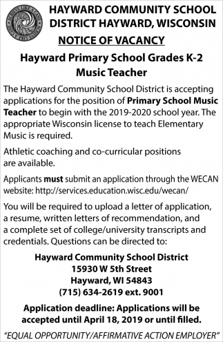 Hayward Primary School Grades k-2 Music Teacher