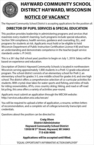 Director of Pupil Services & Special Education