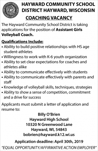 Assistant Girls Volleyball Coach