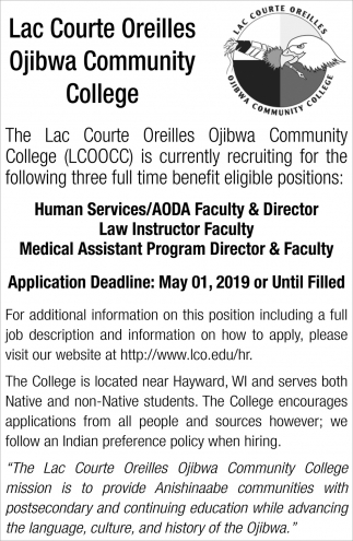Human Services, AODA Faculty & Director Law Instructor Faculty, Medical Assistant Program Director