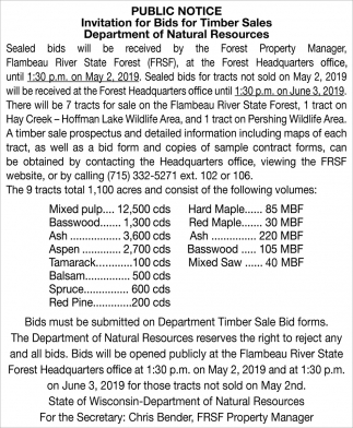 Invitation for Bids for Timber Sales