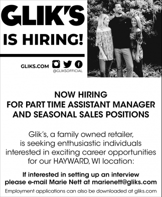 Part Time Assistant Manager, Seasonal Sales