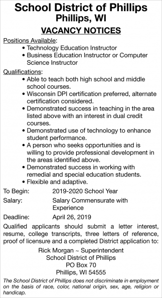 Technology Education Instructor, Business Education Instructor or Computer Science Instructor