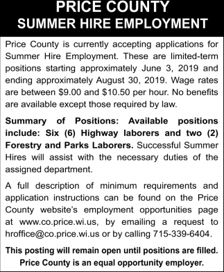 Summer Hire Employment