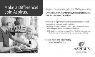 LPN's, RN's, CNA, Maintenance, Nutritional Services, EVS, Resident Care Aides