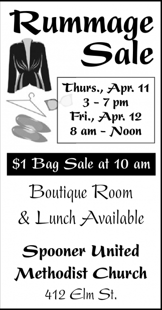Rummage Sale, United Methodist Church - Spooner, Spooner, WI