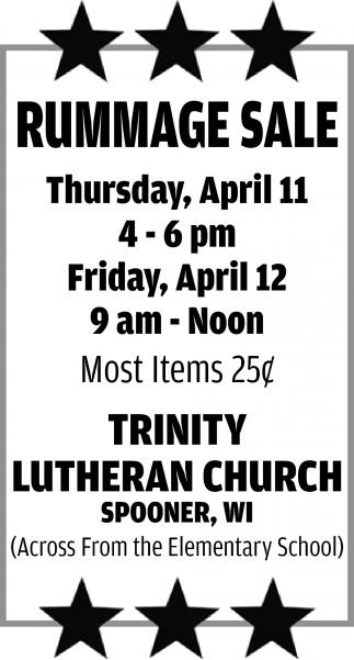 Rummage Sale, Trinity Lutheran Church - Spooner, Spooner, WI