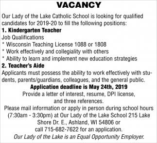 Kindergarten Teacher, Teachers Aide