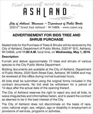 Advertisement for Bids Tree and Shrub Purchase
